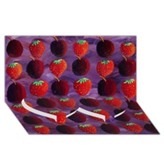 Strawberries And Plums  Twin Heart Bottom 3D Greeting Card (8x4)