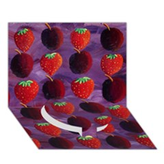 Strawberries And Plums  Circle Bottom 3D Greeting Card (7x5)
