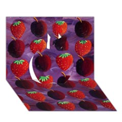 Strawberries And Plums  Apple 3d Greeting Card (7x5)