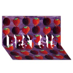 Strawberries And Plums  Best Sis 3d Greeting Card (8x4)