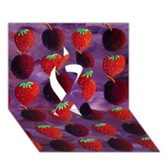 Strawberries And Plums  Ribbon 3D Greeting Card (7x5)