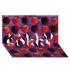 Strawberries And Plums  Sorry 3d Greeting Card (8x4)