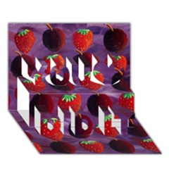 Strawberries And Plums  You Did It 3D Greeting Card (7x5)
