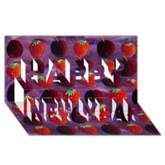 Strawberries And Plums  Happy New Year 3D Greeting Card (8x4)