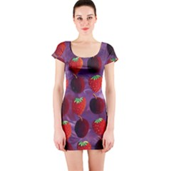Strawberries And Plums  Short Sleeve Bodycon Dresses