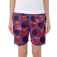 Strawberries And Plums  Women s Basketball Shorts