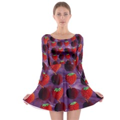 Strawberries And Plums  Long Sleeve Skater Dress