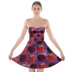 Strawberries And Plums  Strapless Bra Top Dress