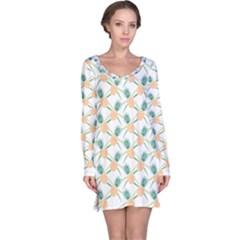 Pineapple Pattern 04 Long Sleeve Nightdresses