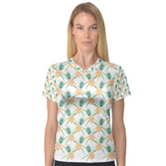 Pineapple Pattern 04 Women s V-Neck Sport Mesh Tee