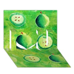 Apples In Halves  I Love You 3d Greeting Card (7x5)