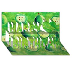Apples In Halves  Happy Birthday 3d Greeting Card (8x4)