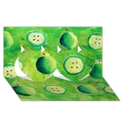 Apples In Halves  Twin Hearts 3d Greeting Card (8x4)