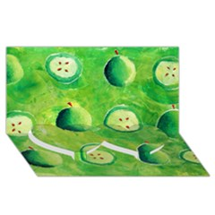 Apples In Halves  Twin Heart Bottom 3d Greeting Card (8x4)
