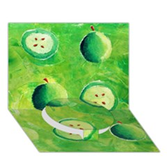 Apples In Halves  Circle Bottom 3d Greeting Card (7x5)