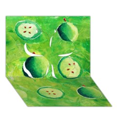 Apples In Halves  Clover 3D Greeting Card (7x5)