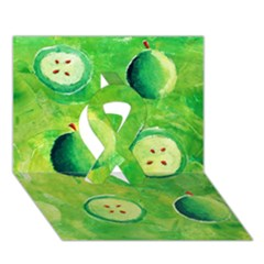 Apples In Halves  Ribbon 3d Greeting Card (7x5)