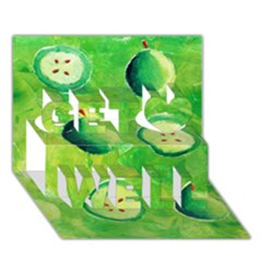 Apples In Halves  Get Well 3D Greeting Card (7x5)