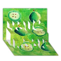 Apples In Halves  You Rock 3D Greeting Card (7x5)