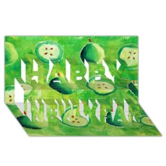 Apples In Halves  Happy New Year 3D Greeting Card (8x4)
