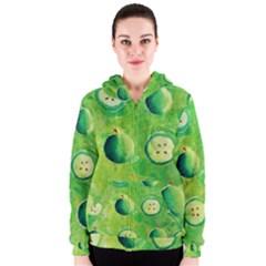 Apples In Halves  Women s Zipper Hoodies