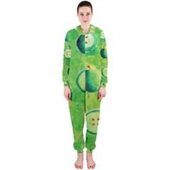 Apples In Halves  Hooded Jumpsuit (ladies)