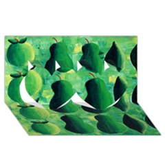 Apples Pears And Limes  Twin Hearts 3D Greeting Card (8x4)