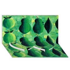Apples Pears And Limes  Twin Heart Bottom 3D Greeting Card (8x4)