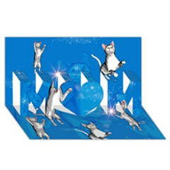 Funny, Cute Playing Cats With Stras Mom 3d Greeting Card (8x4)