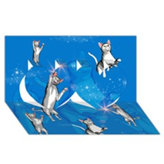 Funny, Cute Playing Cats With Stras Twin Hearts 3d Greeting Card (8x4)