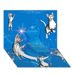Funny, Cute Playing Cats With Stras Circle Bottom 3D Greeting Card (7x5)