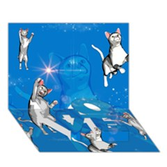 Funny, Cute Playing Cats With Stras LOVE Bottom 3D Greeting Card (7x5)