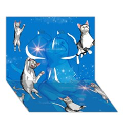 Funny, Cute Playing Cats With Stras Clover 3D Greeting Card (7x5)