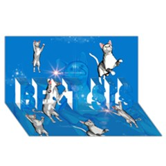 Funny, Cute Playing Cats With Stras Best Sis 3d Greeting Card (8x4)