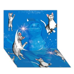 Funny, Cute Playing Cats With Stras Circle 3D Greeting Card (7x5)