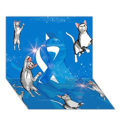 Funny, Cute Playing Cats With Stras Ribbon 3d Greeting Card (7x5)