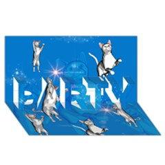 Funny, Cute Playing Cats With Stras Party 3d Greeting Card (8x4)