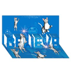 Funny, Cute Playing Cats With Stras BELIEVE 3D Greeting Card (8x4)