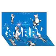 Funny, Cute Playing Cats With Stras Sorry 3d Greeting Card (8x4)