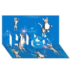 Funny, Cute Playing Cats With Stras HUGS 3D Greeting Card (8x4)