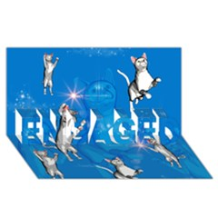 Funny, Cute Playing Cats With Stras ENGAGED 3D Greeting Card (8x4)