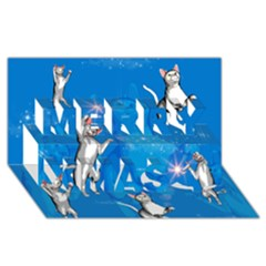 Funny, Cute Playing Cats With Stras Merry Xmas 3d Greeting Card (8x4)