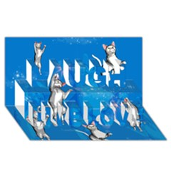 Funny, Cute Playing Cats With Stras Laugh Live Love 3d Greeting Card (8x4)