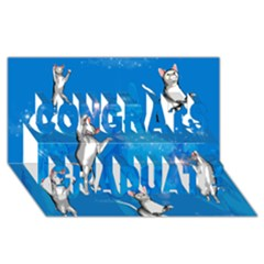 Funny, Cute Playing Cats With Stras Congrats Graduate 3D Greeting Card (8x4)