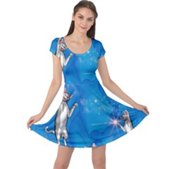 Funny, Cute Playing Cats With Stras Cap Sleeve Dresses
