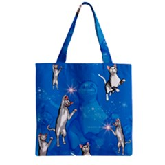 Funny, Cute Playing Cats With Stras Zipper Grocery Tote Bags