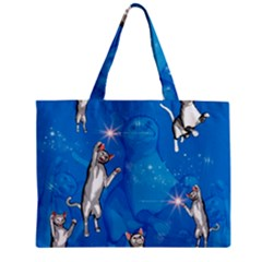 Funny, Cute Playing Cats With Stras Zipper Tiny Tote Bags
