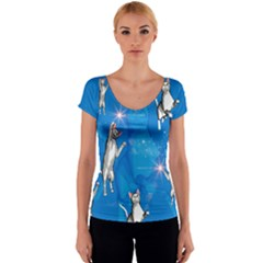 Funny, Cute Playing Cats With Stras Women s V-Neck Cap Sleeve Top