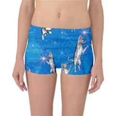Funny, Cute Playing Cats With Stras Reversible Boyleg Bikini Bottoms