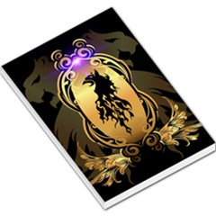 Lion Silhouette With Flame On Golden Shield Large Memo Pads